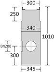 BIRCOsir – kleine Nennweiten nominale breedte 200 AS zinkputten In-line outfall unit with anchoring system 2piece