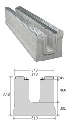 BIRCOmassiv nominale breedte 150 afvoergoten Channel elements I without internal inbuilt fall I with 1-piece hot-dipped galvanised surface protection