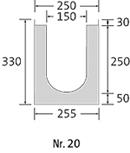 BIRCOsir – kleine Nennweiten nominale breedte 150 afvoergoten Channel elements with 0.5 % internal inbuilt fall