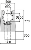 BIRCOsolid Spleetgoten Pfuhler systeem Z type K DN 300 afvoergoten Slot channel element without inbuilt fall with horizontal outlet class D 400. with hot-dipped galvanised solid steel angle for combi-closure system