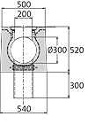 BIRCOsolid Spleetgoten Pfuhler systeem Z type K DN 300 afvoergoten Slot channel element without inbuilt fall with horizontal outlet class F 900. with hot-dipped galvanised solid steel angle for combi-closure system