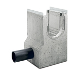 BIRCOprotect nominale breedte 300 zinkputten In-line outfall unit with PEHD pipe-support with hot-dipped galvanised solid steel angle for combi-closure system